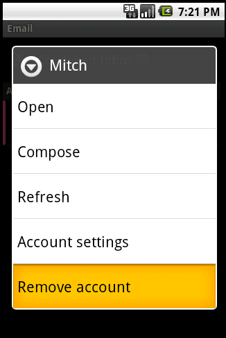 Removing email account from Droid