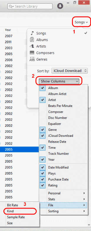 iTunes enable Kind column