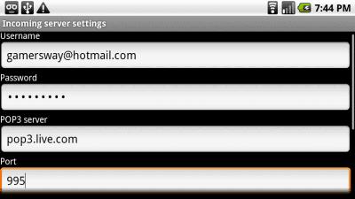 Incoming Hotmail server setup