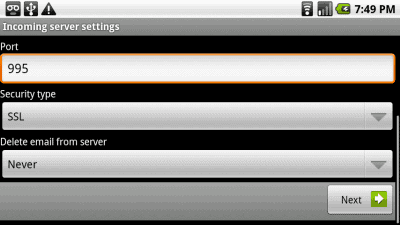 Incoming Hotmail server settings screen 2