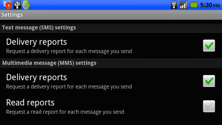 Droid enable Delivery Reports