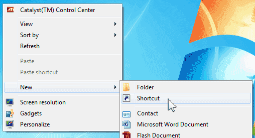 Win7 New Shortcut menu