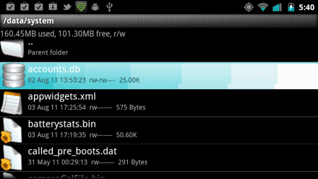 Android Root Explorer - Accounts DB file