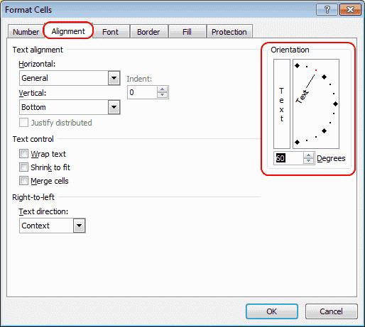 Excel 2010 custom orientation