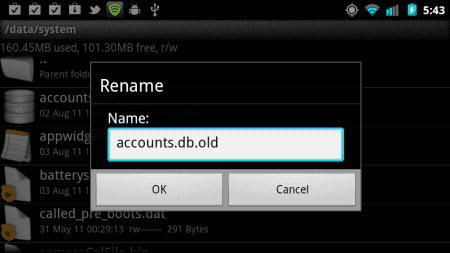 Renaming accounts DB file