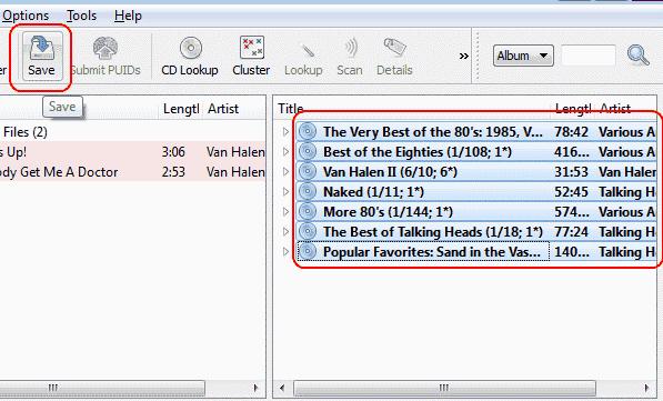 MusicBrainz Saving files