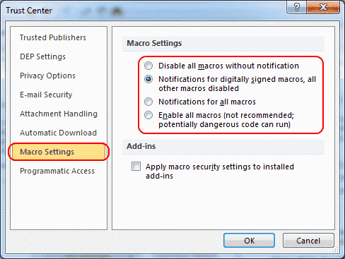 Outlook 2019/365: Enable or Disable Macros
