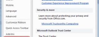 Outlook 2010 Trust Center Settings button