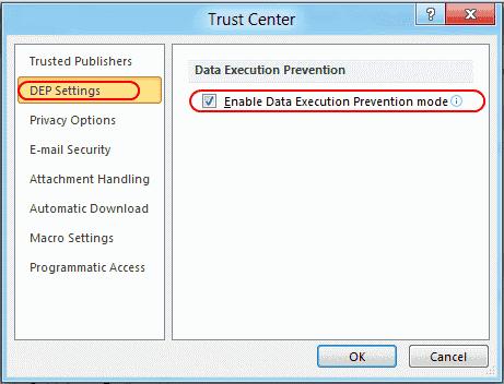 Outlook DEP setting
