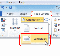 Word 2010 make one page landscape