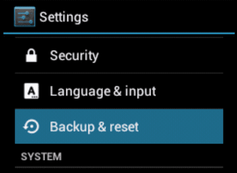 Android ICS Backup and Reset option
