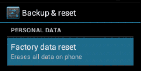 Android ICS Factory and data reset option