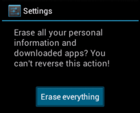 Android ICS erase everything option