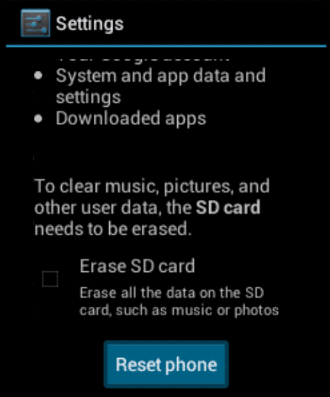 Android ICS reset phone option