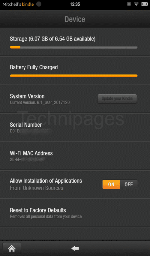 Kindle Fire Locate MAC Address Serial Number Or OS Version