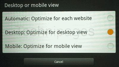 Kindle Fire change to full version of web page setting