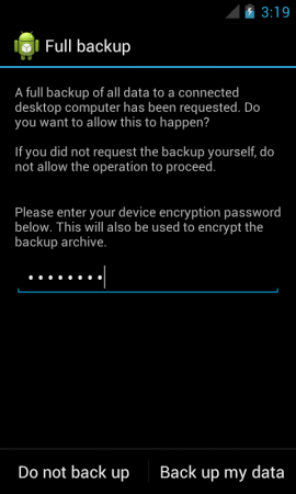 Android Backup Screen