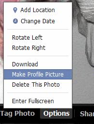 Facebook Options menu