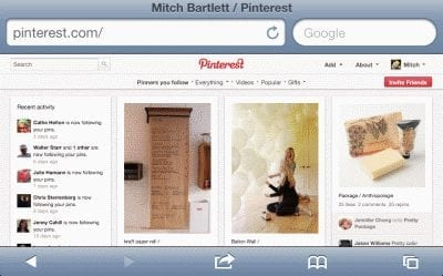 Full Pinterest site in Safari for iOS