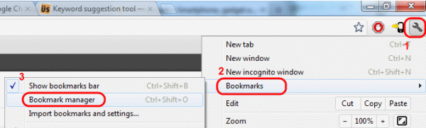 Google Chrome Bookmarks manager menu selection