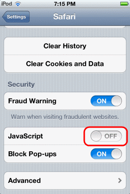 how to enable javascript in iphone enable or disable javascript in safari for iphone amp 6983
