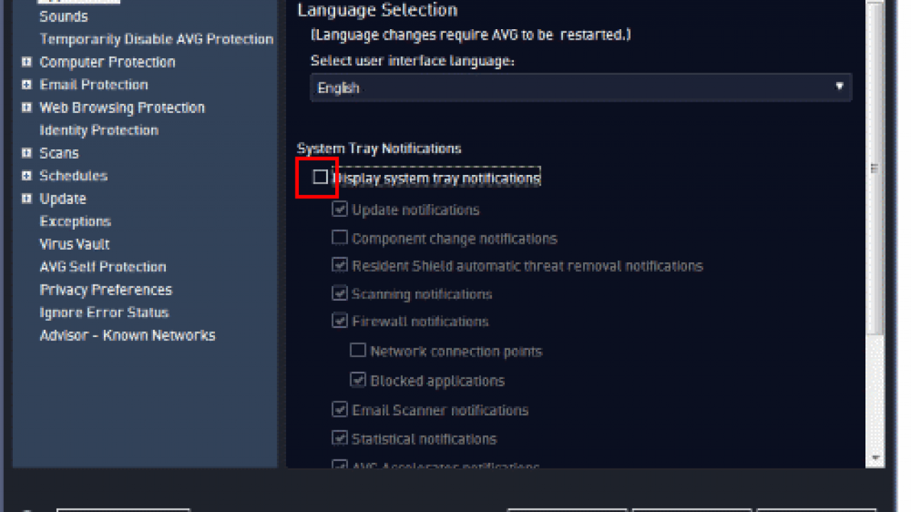 Disable AVG Popup Notifications - Technipages