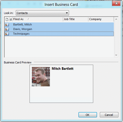 Insert business cards into email