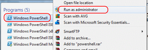 Run PowerShell as admin