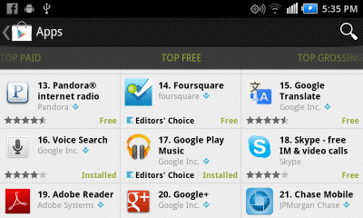 Google Play Apps screen