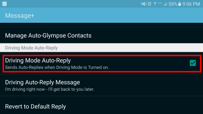S7 Driving Mode Auto Reply