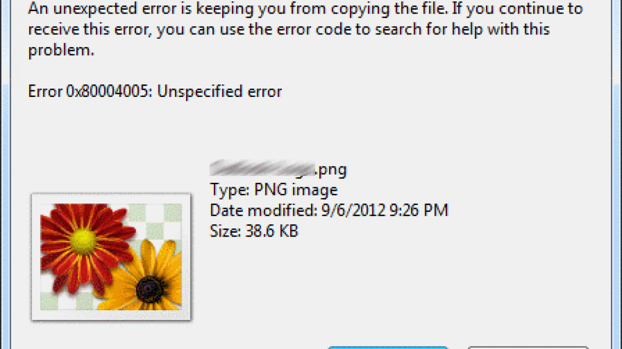 """Fix """"An unexpected error is keeping you from copying the file"""" Error"""