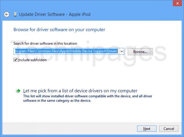 Apple device driver location