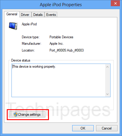 Change settings button