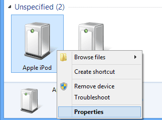 iPod Device Properties option