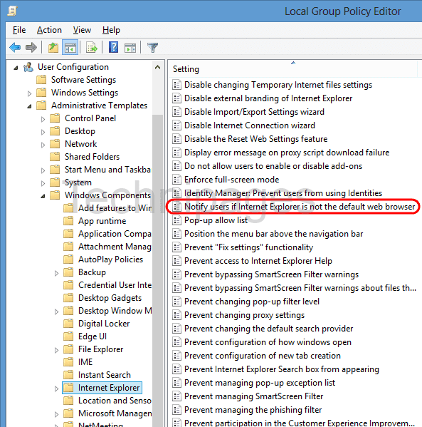 Windows 10: Disable Prompt to Set IE11 as Default Browser