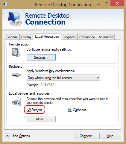 Windows: Printer not Showing in Remote Desktop