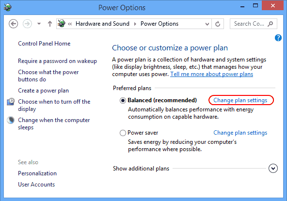 Change power plan setting link