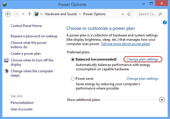Change power plan setting link