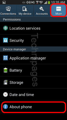 S4 About phone option