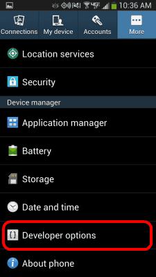 S4 Developer option