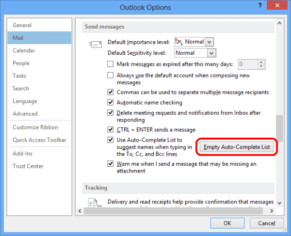Outlook 2013 Empty Autocomplete button
