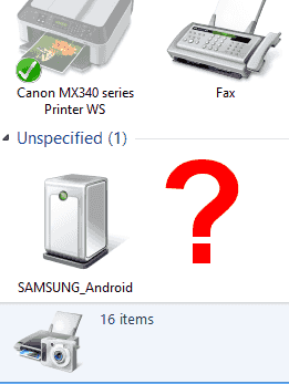 "Using the wrong cable can cause the Galaxy S4 to install in the ""Unspecified"" section of Windows."