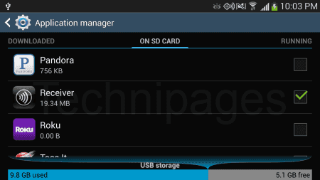 Apps on SD card screen