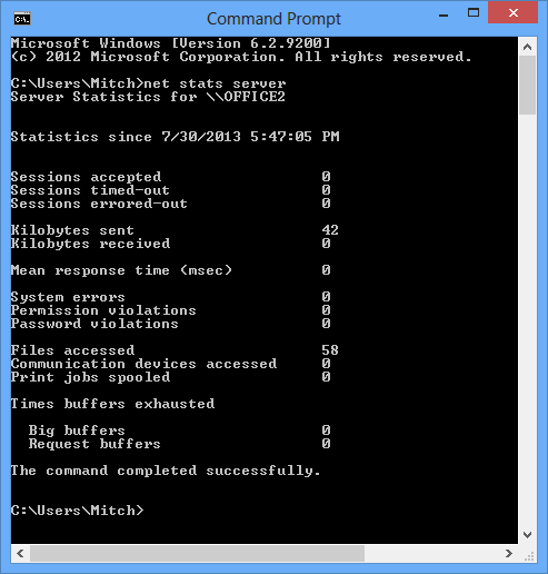 Stats output on command line