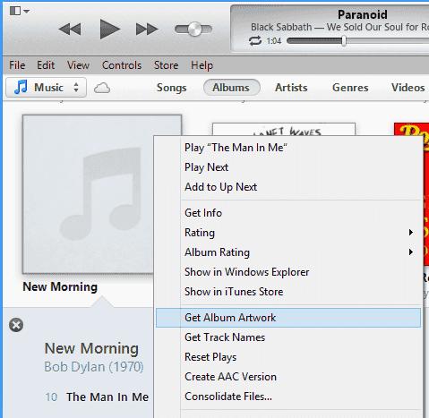 how to show album artwork on itunes