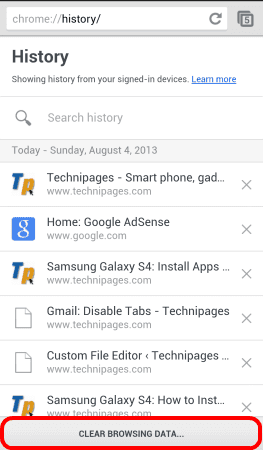 Android Chrome Clear Browsing Data Button