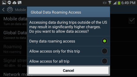 Galaxy S8: Turn Data Roaming On or Off