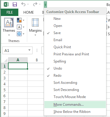 Excel More Commands option