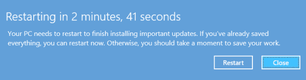 Windows Update Restarting Message - Windows 8