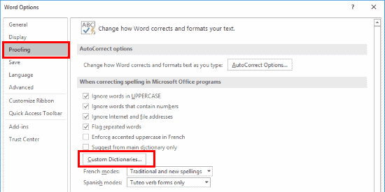 Word 2016 Custome Dictionaries button